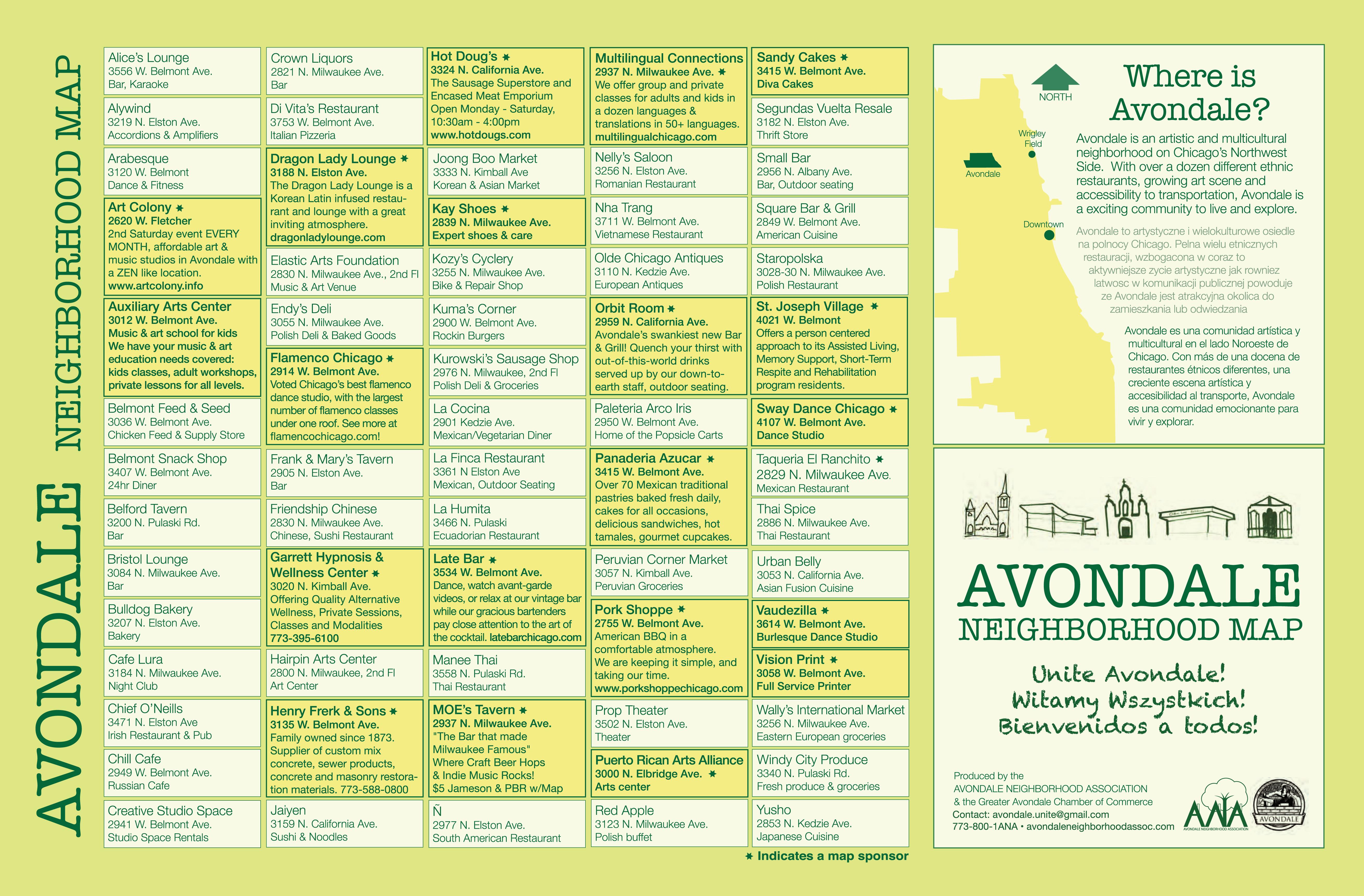 Neighborhood Map Avondale Neighborhood Association - Chicago neighborhood map art